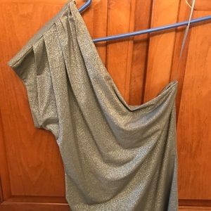 One shoulder silver sparkle fitted tank